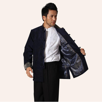 Navy Blue Winter Thick Men Corduroy Jacket Chinese Traditional Male Kung Fu Coat Mandarin Collar Outwear M L XL XXL XXXL MN37