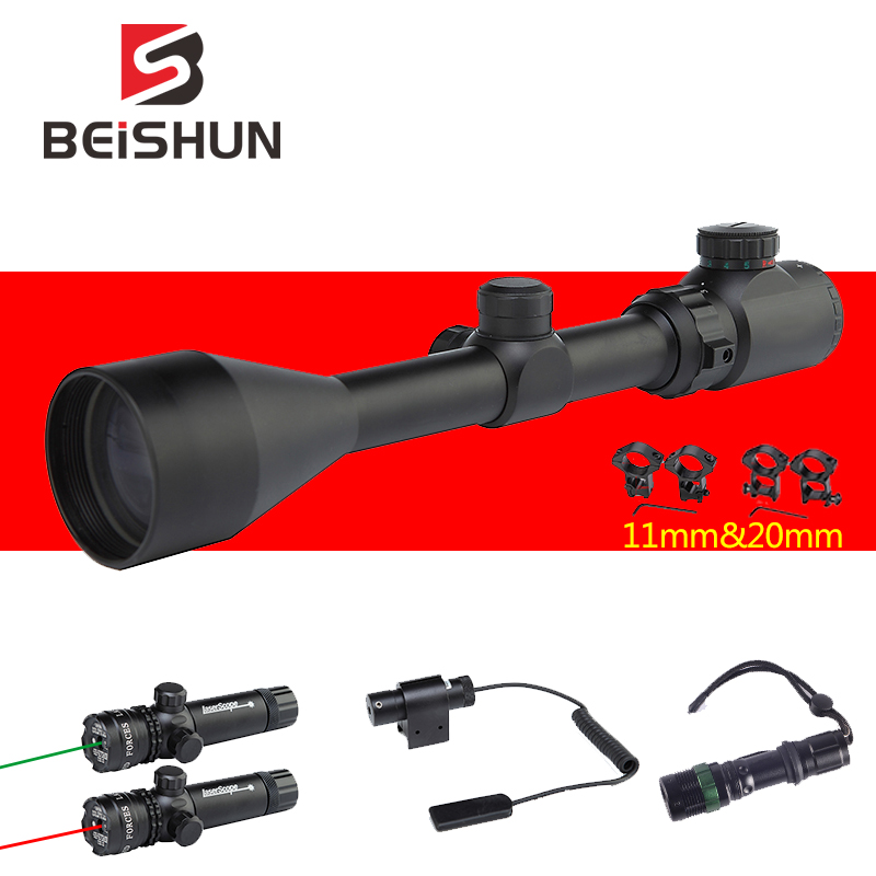 3-9x50EG Hunting Riflescope Long Eye Adjustable Tactical Reticle Sight Scope Outdoor Airsoft Laser combination Gun Scopes(China)