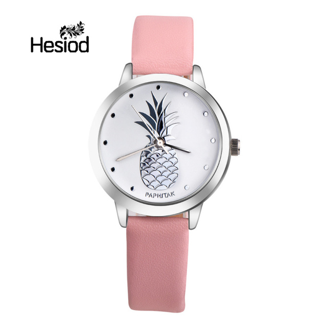 d4ba49669e Hesiod New Design Simple Fashion Pineapple Watch for Women Candy Color Pink  Green Girls Watch Leather