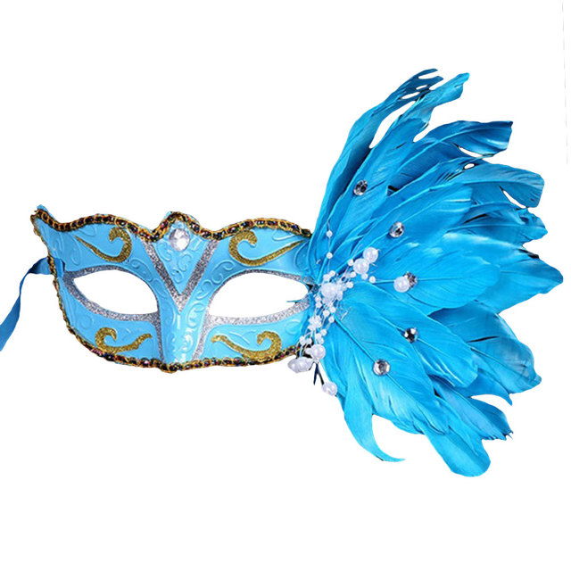 Feather Colored Drawing Face Mask Masquerade Costume Party Prop Ornament