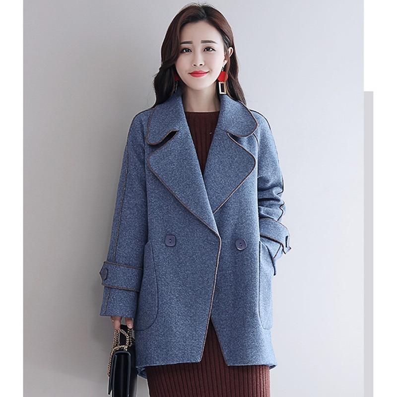 Manteaux Hiver jaune De Coréenne Vintage Manteau Casual rose Élégant Laine bleu Beige Mode 2018 Poches Femmes Style Royal Lâche AtdqgxARw