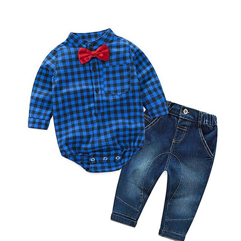 Newborn Rompers +jeans 2pcs Baby boy Newborn baby clothes full Sleeve Baby boy Clothes christmas 0-24 month birthday custumes недорго, оригинальная цена