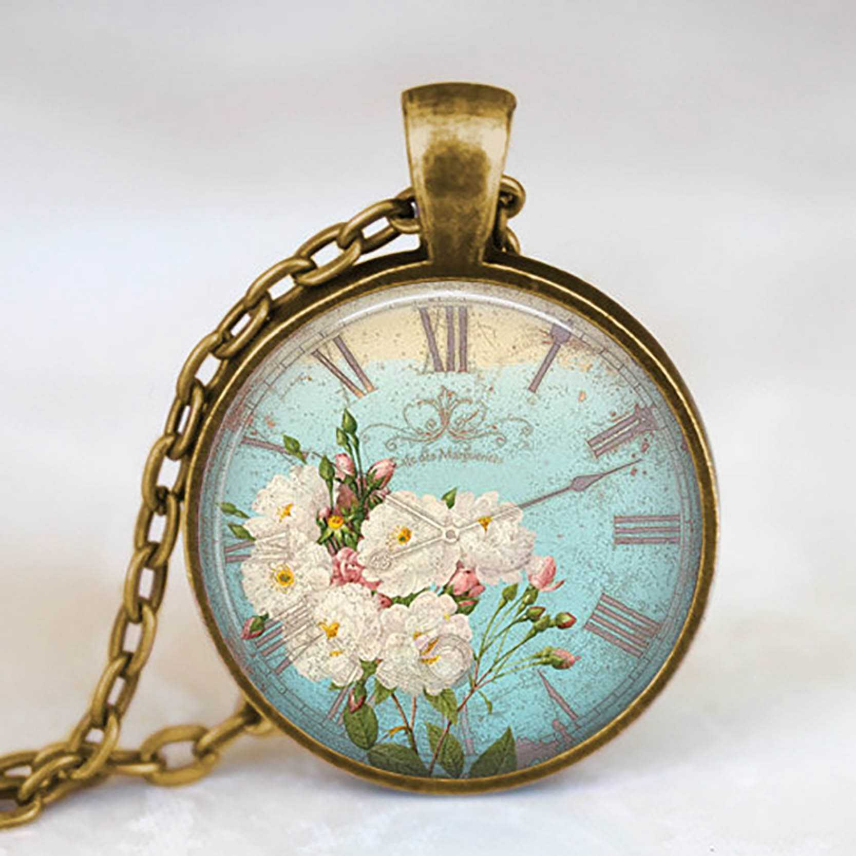 2019 New Fashion Flower Clock Pocket Watches Glass Cabochon Jewelry Vintage Bronze Long Chain Necklace for Women Girls Gift
