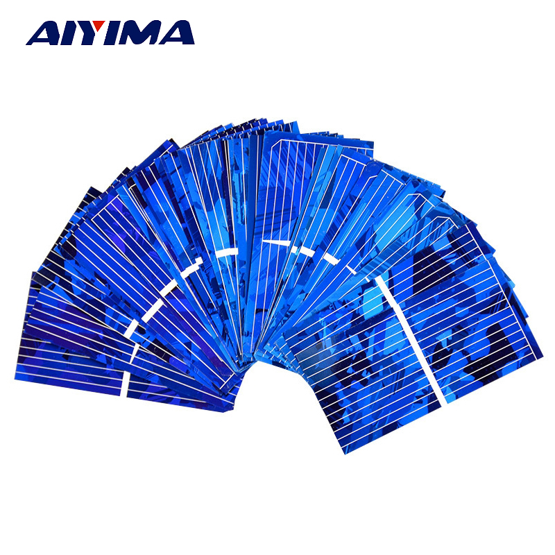 Aiyima 0.5V 0.45A Solar Panel Polycrystalline Silicon Solar Cells Solar Module DIY Solar Sunpower Charger Power 52*26mm 100pcs