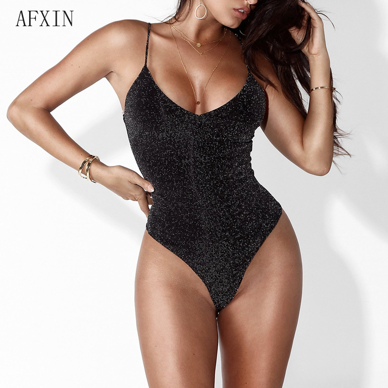 2019 Black  Bodycon Jumpsuit Women Sexy V Neck Glitter Knitted Romper Solid Backless Spaghetti Strap Skinny Bodysuit Club Wear