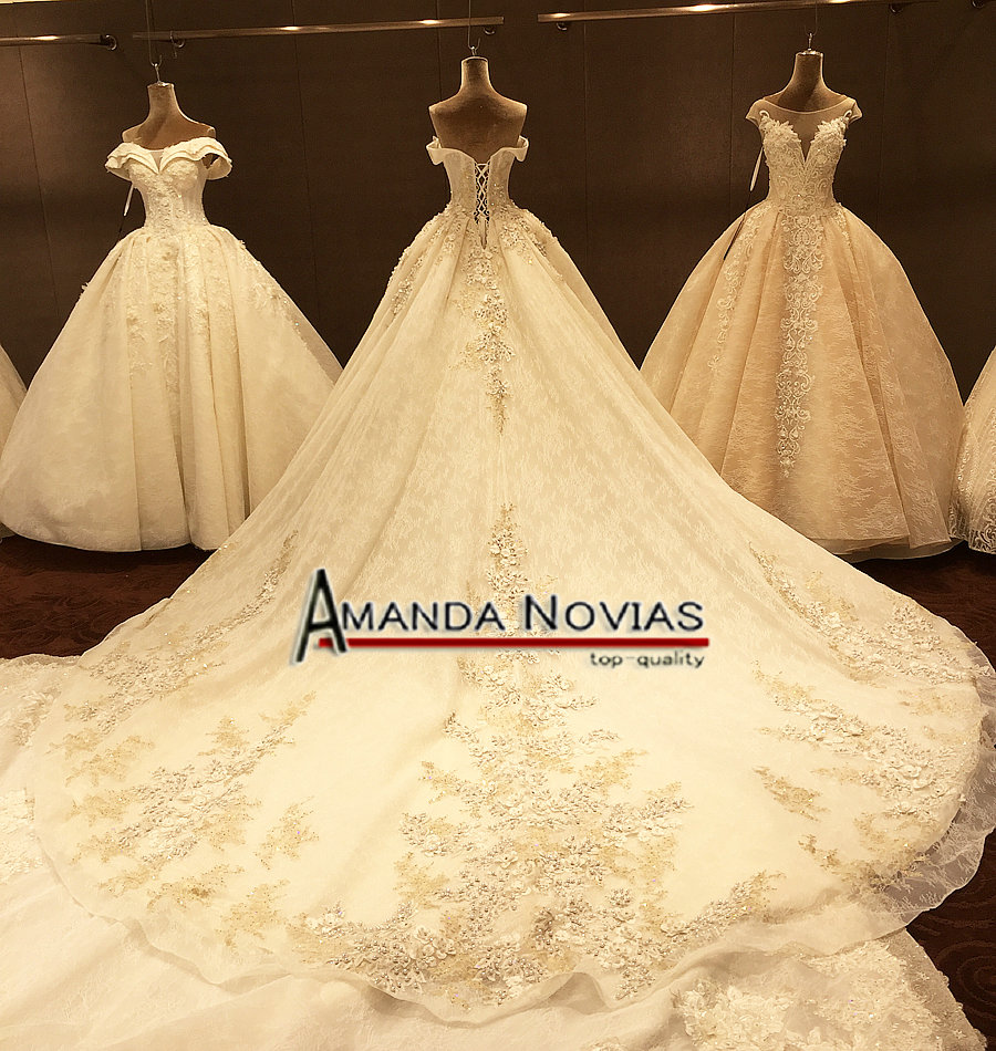Image 4 - Off The Shoulder Straps Luxurious Wedding Dress With 3D Flowersluxury wedding dresseswedding dressluxurious wedding -