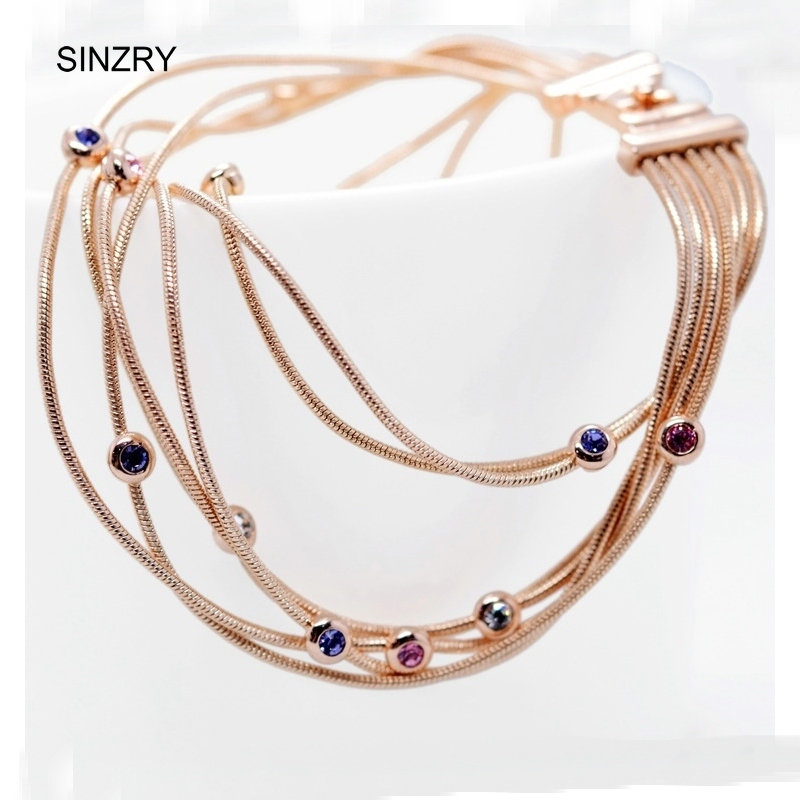 SINZRY classic jewelry colorful rhinestone multilayer charm bracelets rose gold color lady jewelry accessory