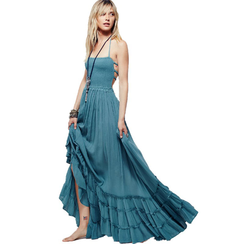 Boho chic halter chiffon long dress Women backless 2017 maxi dresses vestidos Sexy split beach summer dress beach wear mori girl robe de plage chic