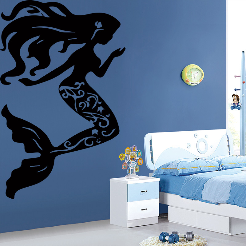 AiyoAiyo Beautiful Little Mermaid Wall Sticker For Home Decor Living Room Girls Accessories Waterproof Art Stickers Adesivos