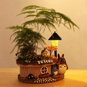 Image 3 - 1pcs Fortune tree flower pot With Light Small Bonsai Bamboo Plant Indoor Purification Air Plant Micro Landscape Desktop Ornament