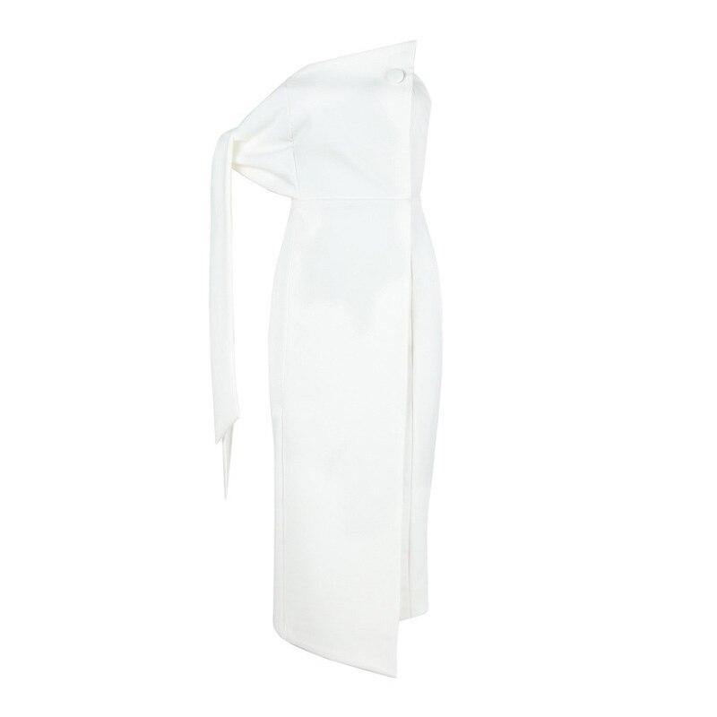 Robe Celebrity De Crayon Robes Clubwear Sexy Patchwork Office la Blanc Moulante Hors Style Femmes White Lady épaule Partie 8qvBFf