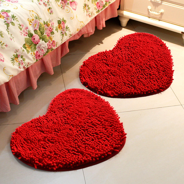 Coral Fleece Valentineu0027s Day Sweet Red Heart Shaped Carpet Romantic Wedding  Room Decorative Rug Couple