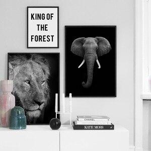 Image 3 - Animais selvagens leão tigre leopardo elefante arte da parede pintura da lona nordic cartazes e impressões fotos parede para sala de estar decoração