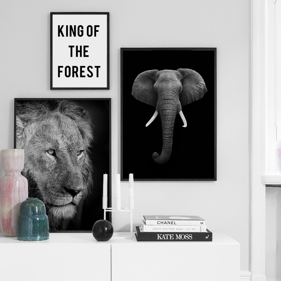 Image 3 - Wild Animal Lion Tiger Leopard Elephant Wall Art Canvas Painting Nordic Posters And Prints Wall Pictures For Living Room Decor-in Painting & Calligraphy from Home & Garden
