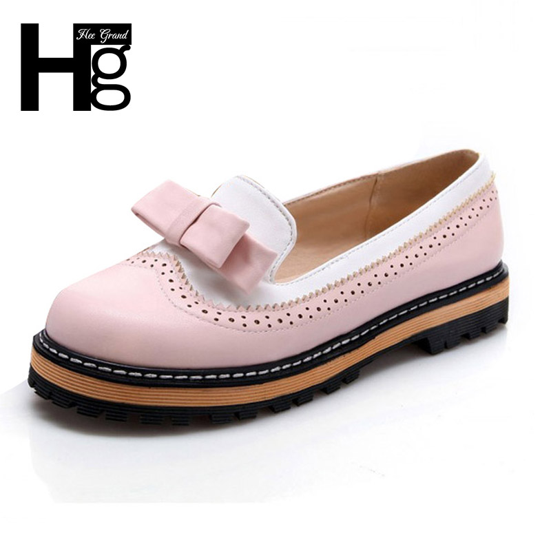 HEE GRAND Bowtie Low Heels Women Shoes Platform Brogue Shoes Woman Cute Patchwork Oxfords Slip On Spring Shoes XWD3421 hee grand sweet faux fur slippers fashion flats shoes woman slip on bowtie winter warm women shoes 4 colors size 36 41 xwt966