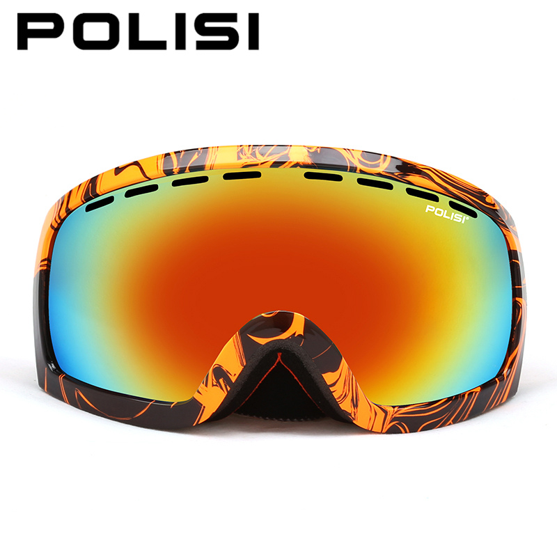 POLISI Windproof Snowboard Skate Goggles Double Layer Anti-Fog Lens Skiing Glasses Polarized Outdoor Snowmobile Snow Eyewear polisi brand new designed anti fog cycling glasses sports eyewear polarized glasses bicycle goggles bike sunglasses 5 lenses