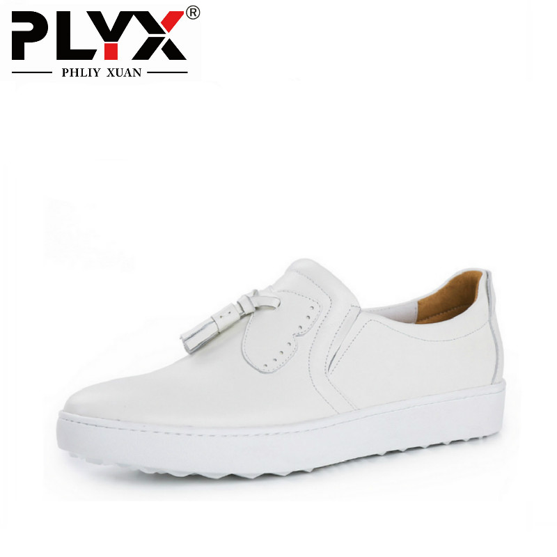 PHLIY XUAN British Style Mens Casual Shoes 100% Handmade Genuine Leather Men White Loafers Zapatillas Hombre Chaussure Homme fs british style 100