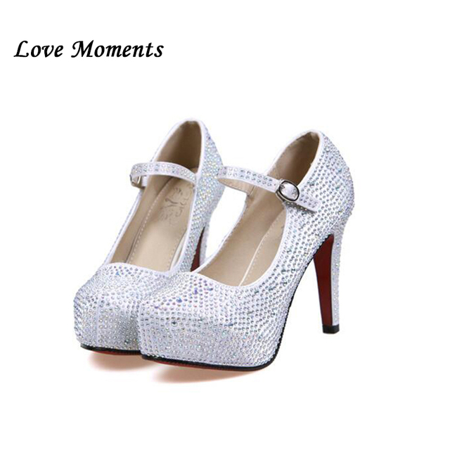 LuxEcho Women Crystal stones wedding shoes Bride fashion shoes woman High  heels Platform 11cm heel shoes with Ankle strap 28c03b4cdaca