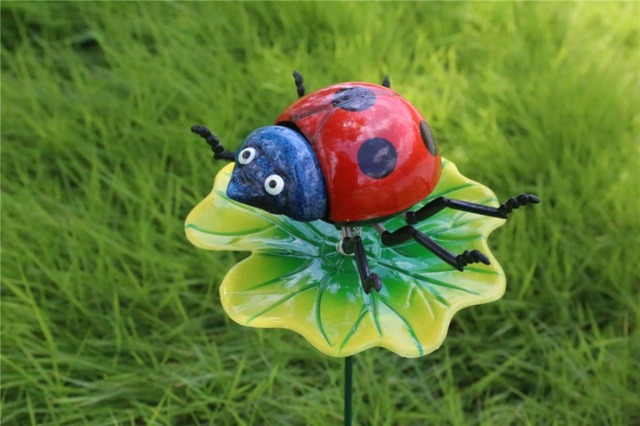 Cartoon Fake Artificial Ladybug Garden Stake Free Shipping Plastic Insect  Flower Pot Decor Widget Home Use