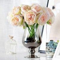 European Bouquet 5 Head Peony Silk Artificial Flowers Bridal Bridesmaid Hydrangeas Wedding Latex Real Touch Floral