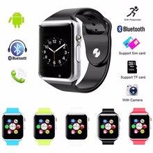 Получить скидку Смарт-часы A1 с Камера Bluetooth Шагомер трекер сна ответ на вызов SmartWatch Многоязычная наручные часы для Android/IOS