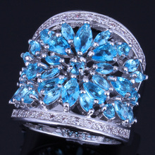 Astonishing Huge Sky Blue Cubic Zirconia White CZ 925 Sterling Silver Ring For Women V0156 цена