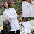New 2016 Spring Autumn Female Long Sleeve White Cotton Blouse Women Fashion Loose Plus Size Casual Korean Boyfriend Shirt T6181