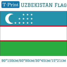 Free shipping 90*150cm/60*90cm/15*21cm Uzbekistan National Flag 3x5ft Hanging