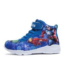 Zapatos de primavera-Otoño-Invierno para niños, botas para niños, zapatillas a la moda, zapatos informales transpirables con dibujo de héroe, novedad de 2021