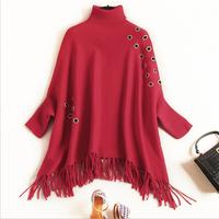 warm luxury Spring gorgeous Loose Cute womens clothes winter knitting Cloak Knitted top tassel Cloak batwing sleeve sweater red