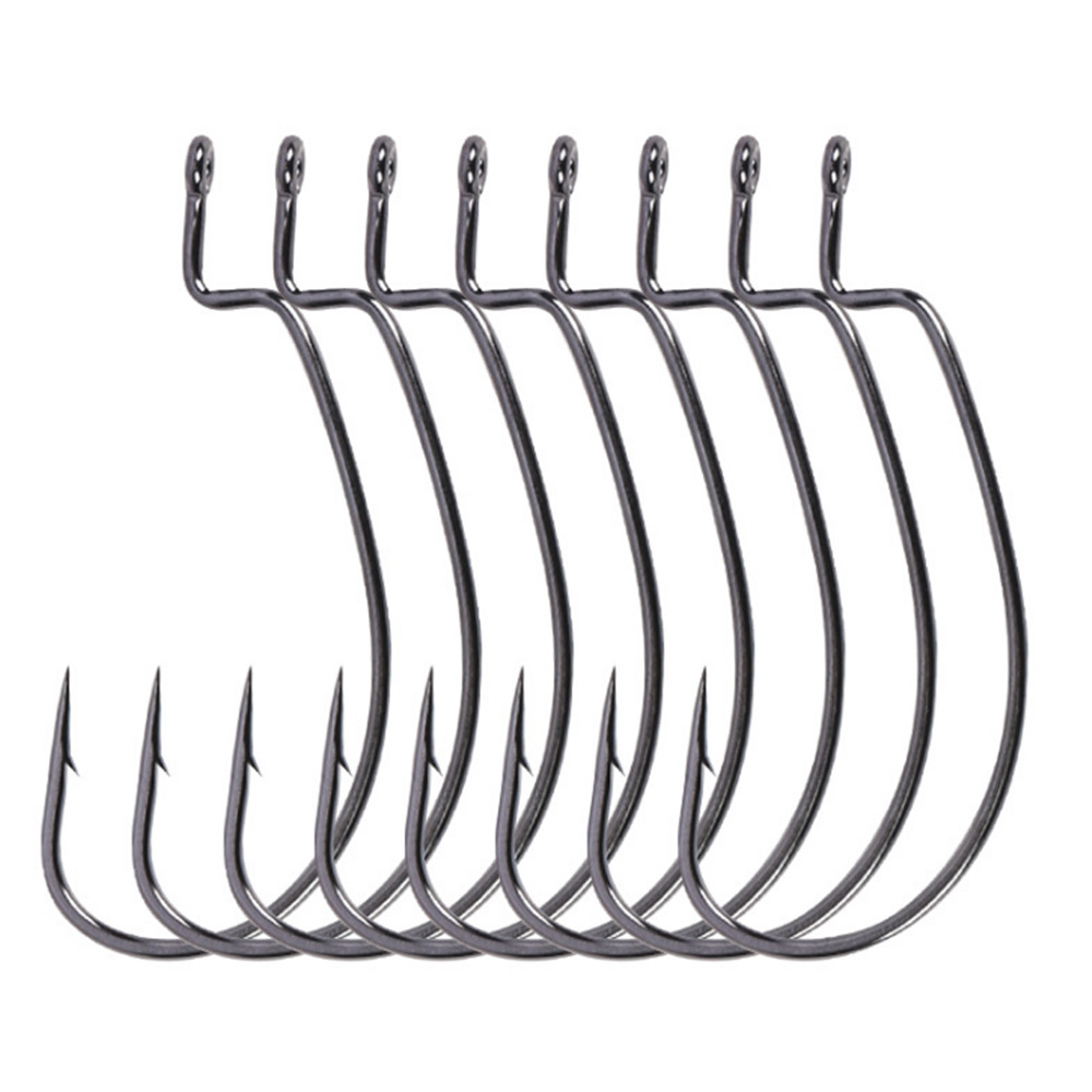 10pcs/lot High-carbon Steel Fishing Hooks Lead Jig Head 1/0-4/0# Hooks Worm Pesca For Soft Bait Tackle High Quality Accessories