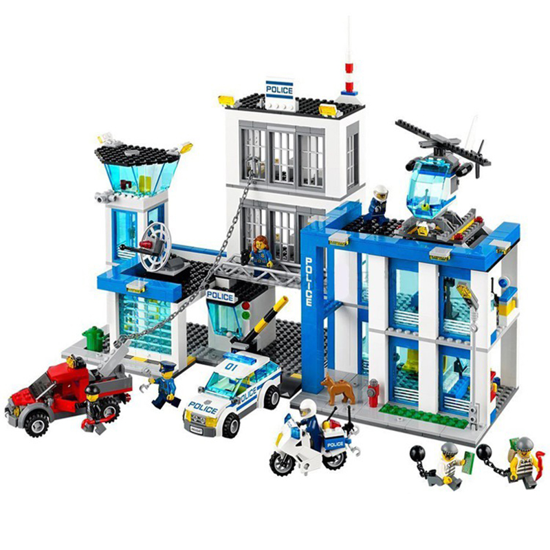 bela 10424 City Police Station motorbike helicopter Model building kits compatible with 60047 blocks Educational toys