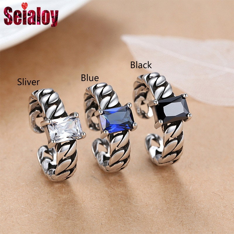 Vintage Silver Color Copper Rings For Men Women Fashion Blue Black White Crystal Opening Ring Wedding Engagement Brands Rings(China)