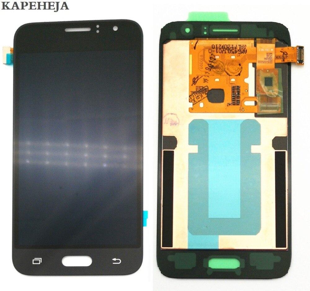 Novo super amoled display lcd para samsung galaxy j1 2016 j120 j120f j120h j120m display lcd de tela toque digitador assembléia