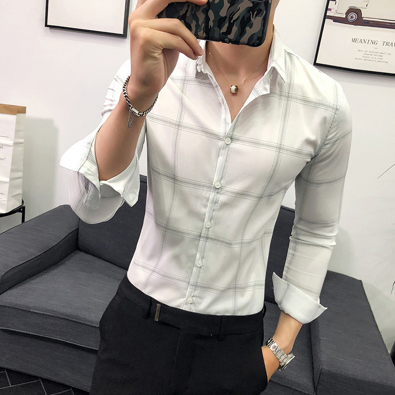Plaid shirt men's long-sleeved Slim Korean business British youth white trend handsome casual men's tide shirt