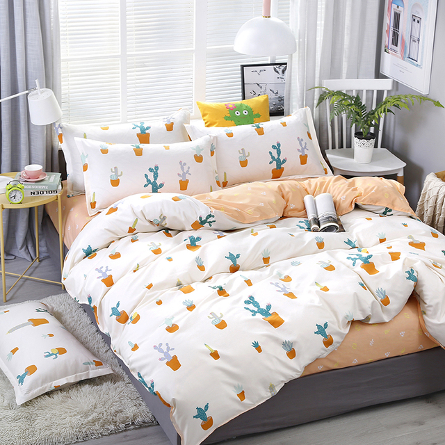 A26 4pcs/set Cartoon Cactus Potted Plant Printing Bedding Set Bed Linings Duvet Cover Bed Sheet Pillowcases Cover Set