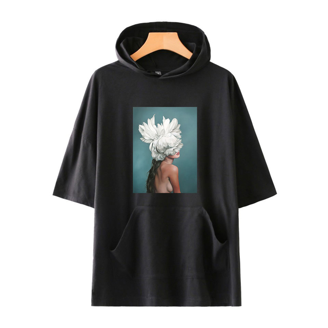 7ce3a2ad79 Flowers Feather Tshirt Harajuku Short Sleeve 90s Aesthetic Hoodies T shirt  Hip Hop Tops & Tees Fashion Casual Couple Graphic