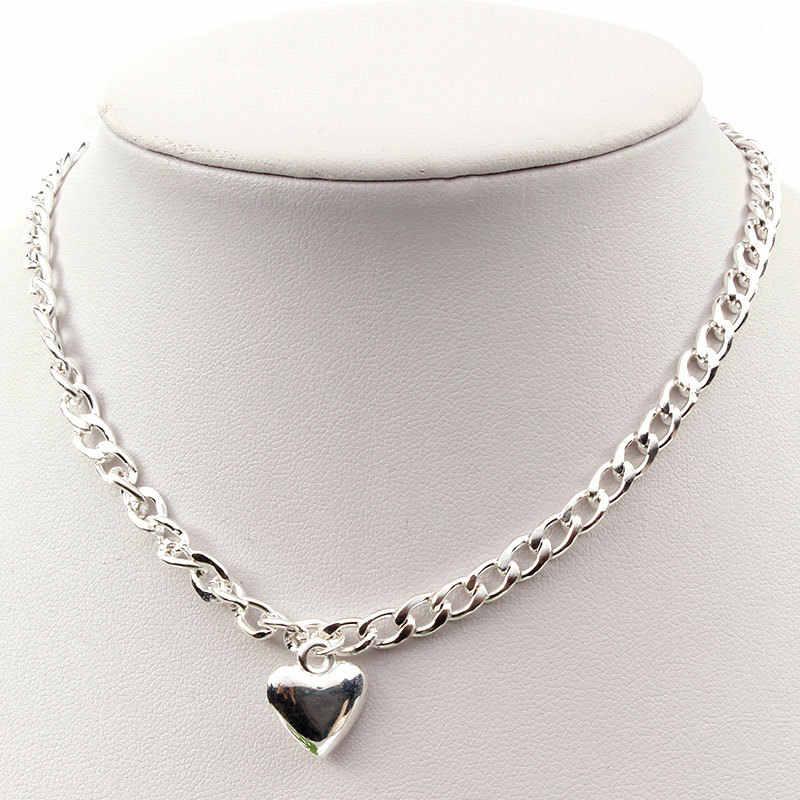 Hot koreański słodki Love Heart Choker naszyjnik oświadczenie prezent dla dziewczyny śliczne złoto srebro naszyjnik biżuteria Collier Femme