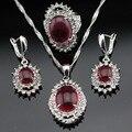 Made in China Vermelho Branco Cor Prata Cristal Nupcial Conjuntos de Jóias Para As Mulheres Brincos/Colar/Pendente/Anéis Caixa de Presente livre