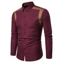 Dress Men Shirts Summer New model Social Wheat Print Long Sleeve Blouse Mens Clothing Slim fit White black
