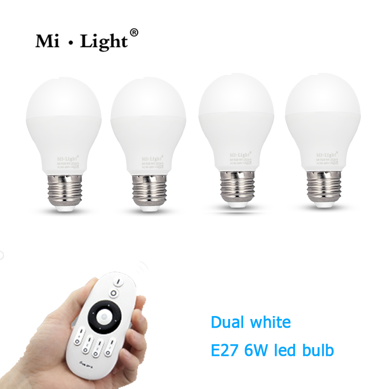 Milight LED Dual white bulb 6W E27 base lamp CCT  AC85-265V & Four Zone Remote& remote dimmer  цена