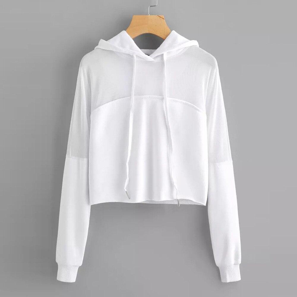 Hoodies Sweatshirt Women Plus Size Boho Solid Blouse Splice Shirt Long Sleeve Hooded Female Crop Top Hoodie sudaderas