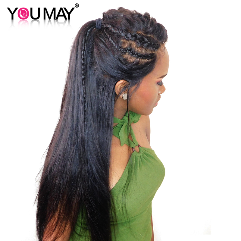 Full Lace Human Hair Wigs With Baby Hair Pre Plucked 130% Density Brazilian Straight Full Lace Wigs For Women You May Remy Hair