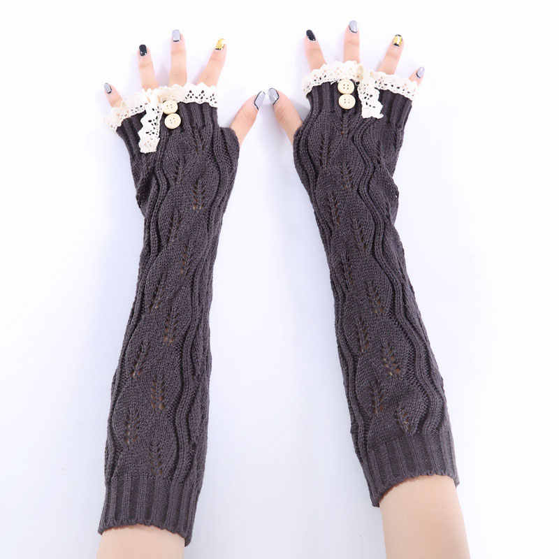 2e4d1df51 ... 1pair Fashion Ladies Winter Arm Warmer Fingerless Gloves Lace Button  Knitted Long Warm Gloves Mittens For ...
