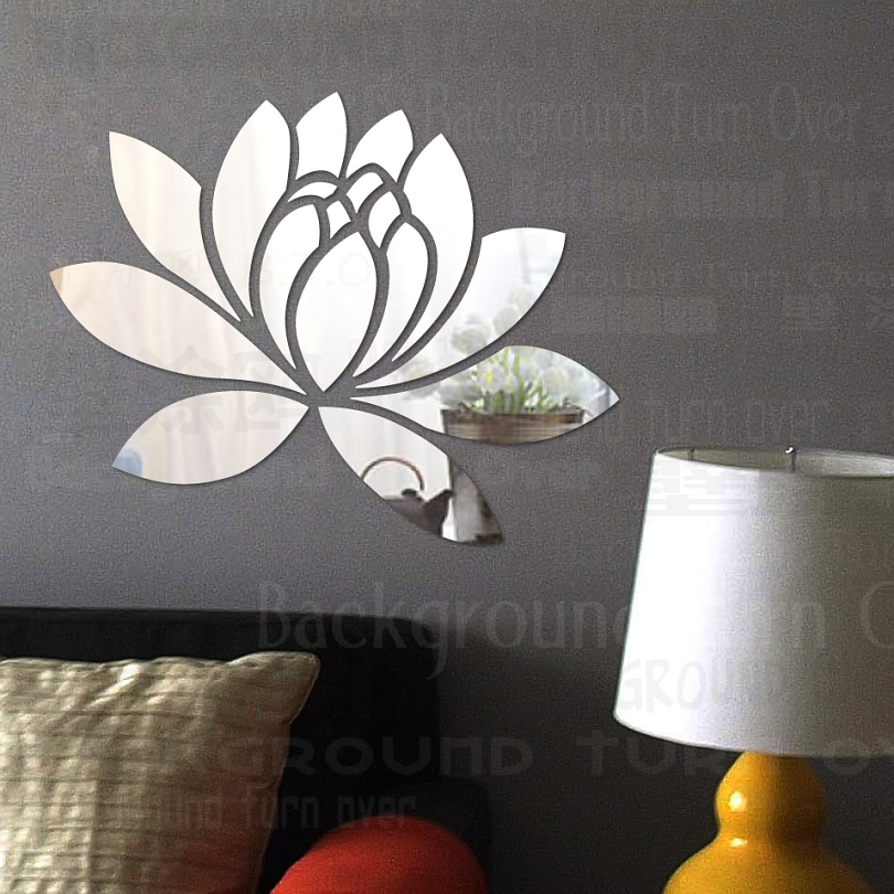 Creative Elegant Lotus 3D Acrylic Mirror Decorative Wall Stickers Flower Home Bedroom Decor
