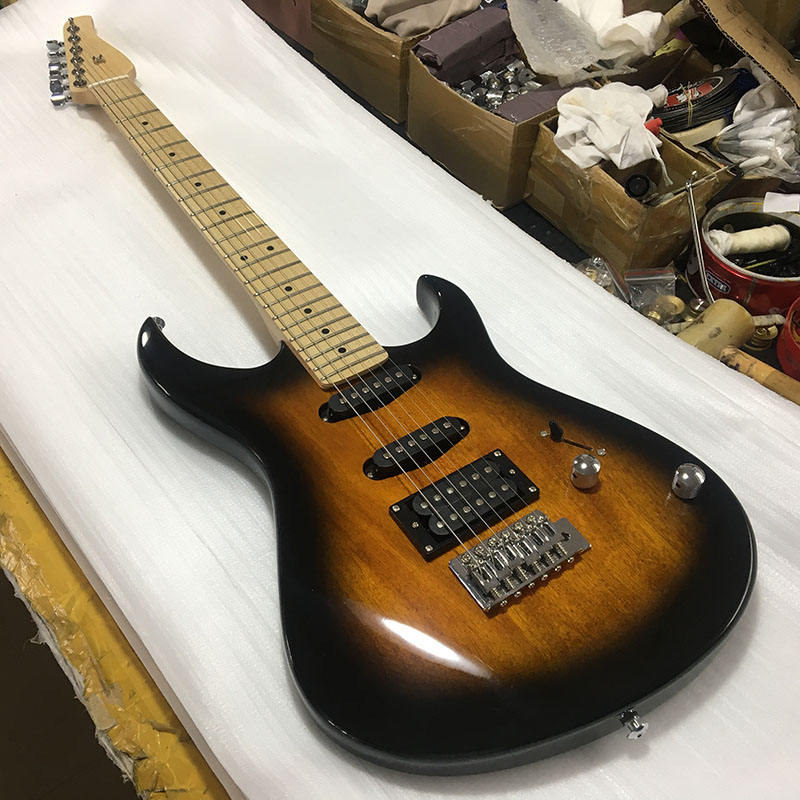 custom electric guitar mahogany body with sunset color paint maple guitar neck and maple. Black Bedroom Furniture Sets. Home Design Ideas