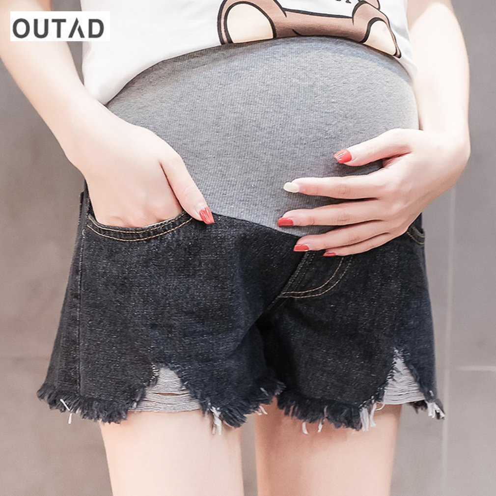 OUTAD Maternity Denim Short Jeans For Pregnant Women Pregnancy Fashion Summer High Waist Nursing Jeans Pants Maternity Clothes
