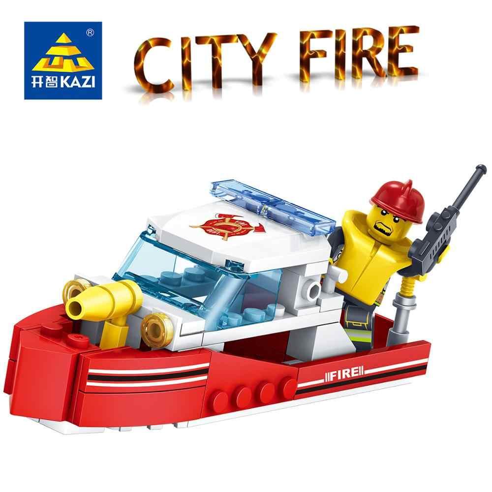Kazi Pemadam Kebakaran 4in1 Truk Helikopter Mobil Perahu Blok Bangunan Pemadam Kebakaran Kota Angka Mainan Anak