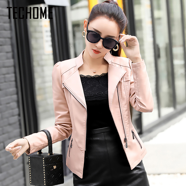 b2d9a9e1f72 2017 Coat Hot Brand Motorcycle PU Leather Jacket Women Winter And Autumn  New Fashion Coat 4 Color Zipper Outerwear Faux Leather