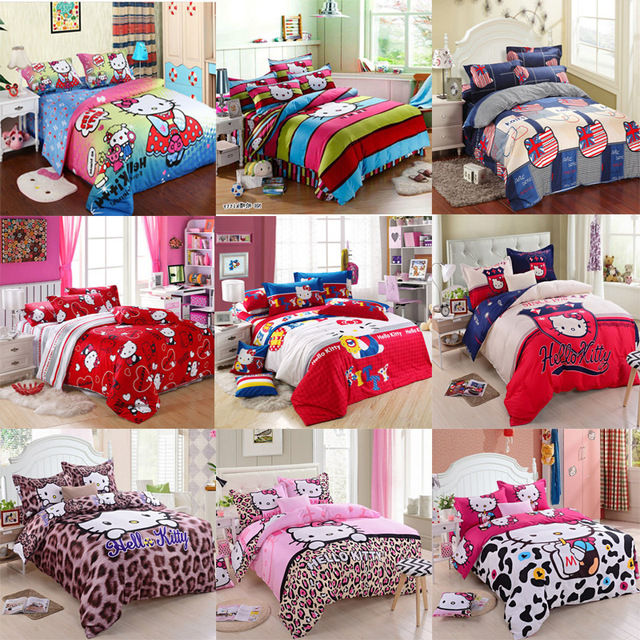 Finest Hot Sale Cotton Hello Kitty Queen Size Twin Queen King Size Bedding  Set With Hello Kitty Comforter Queen